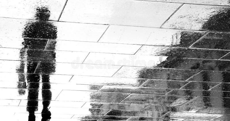 Oskarpa reflexionskonturer av en man som går på en regnig dag royaltyfria foton