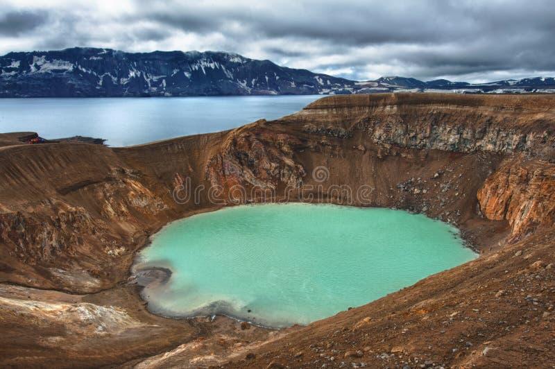 Oskjuvatn och Viti fotografering för bildbyråer