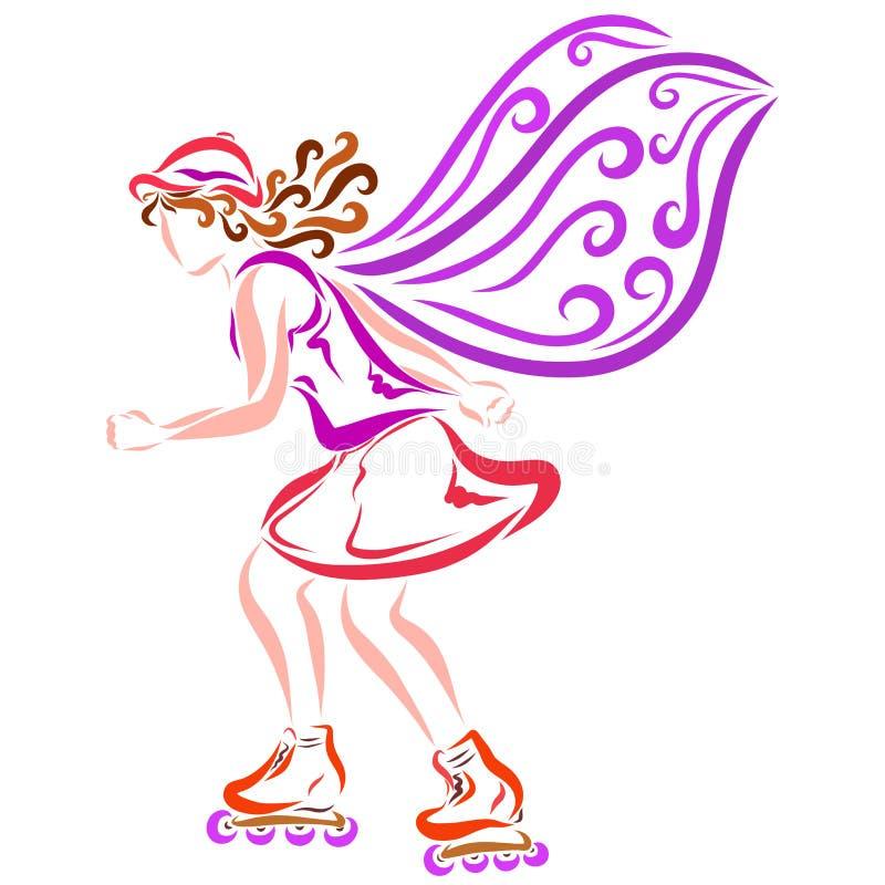 Oskrzydlona dziewczyna biega na rolkowych łyżwach ilustracja wektor