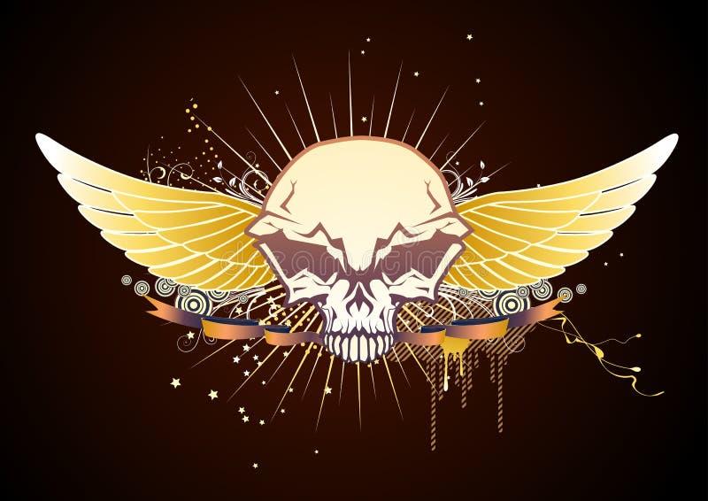 oskrzydlona emblemat czaszka ilustracja wektor
