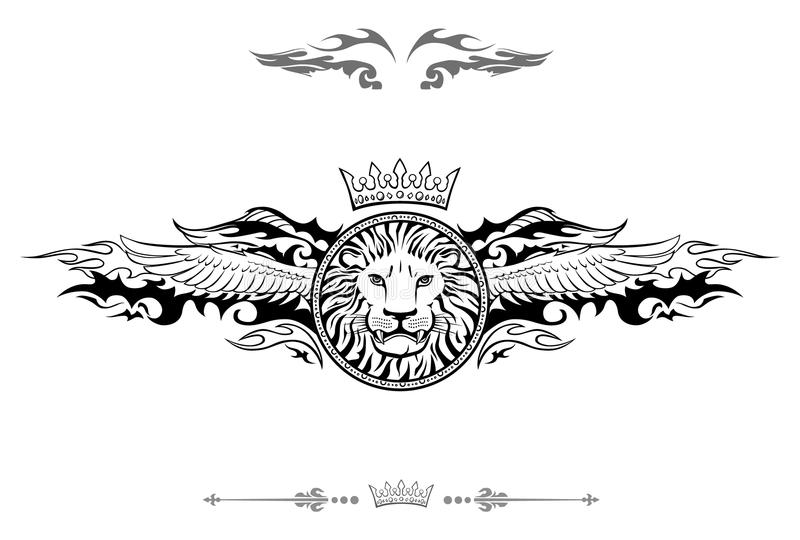 Oskrzydlona lew osłony insygnia ilustracja wektor