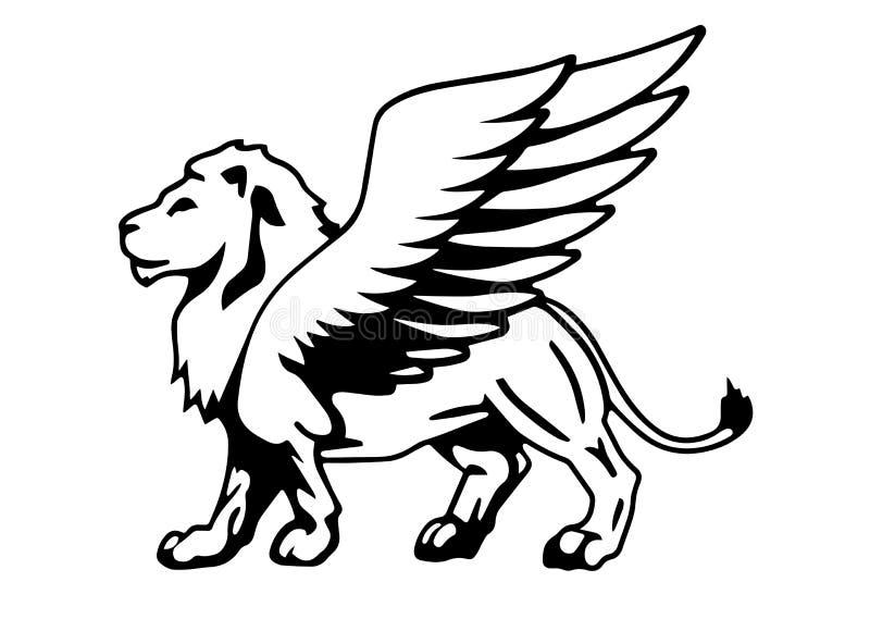 Oskrzydlona lew sylwetka ilustracja wektor