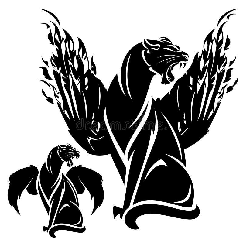 Oskrzydlona pantera royalty ilustracja