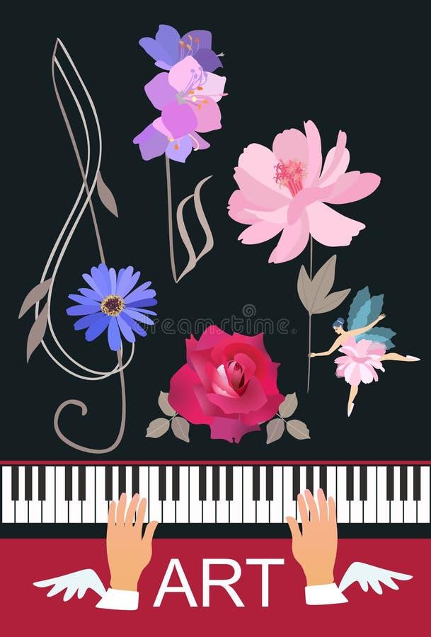 Oskrzydlone ręki bawić się na koncertowym czarnym pianinie muzyk, mały młody czarodziejski taniec z menchiami kwitną, kwiecisty t ilustracja wektor