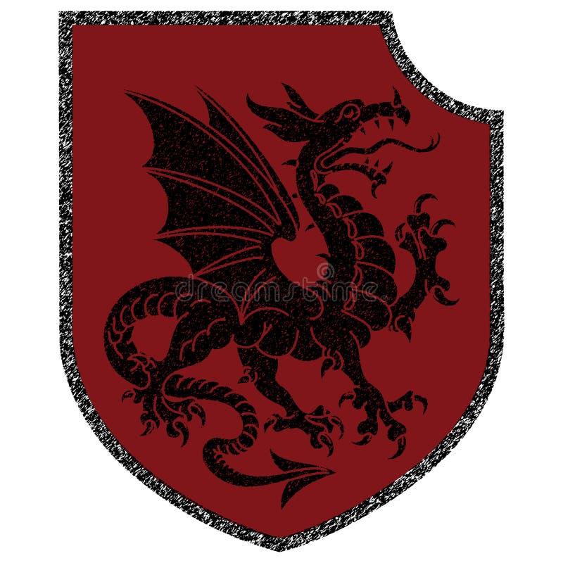 Oskrzydlony heraldyczny smok i heraldyczna osłona royalty ilustracja