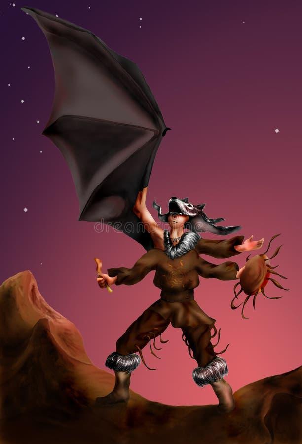 oskrzydlony jeden szaman ilustracja wektor