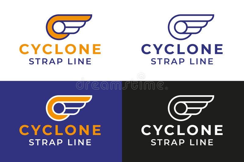 Oskrzydlony koło logo szablon zdjęcia stock