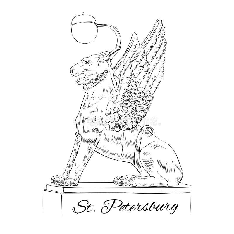 Oskrzydlony lew sylwetki St Petersburg punkt zwrotny Rosja, Wektorowa ręka rysująca grawerująca ilustracja, atramentu nakreślenie royalty ilustracja