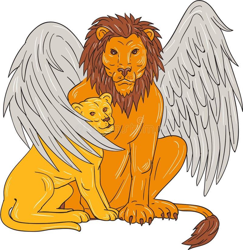 Oskrzydlony lew Z lisiątkiem Pod Swój Skrzydłowym rysunkiem royalty ilustracja