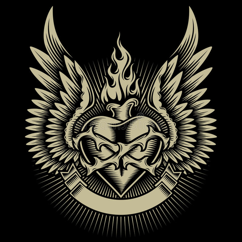 Oskrzydlony Płonący serce Z cierniami ilustracja wektor