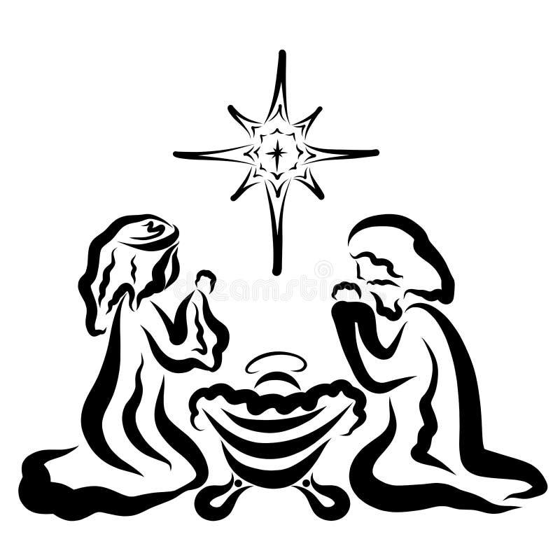 Oskulden Mary och Joseph knäfaller bredvid sova behandla som ett barn Jesus, julstjärnan stock illustrationer
