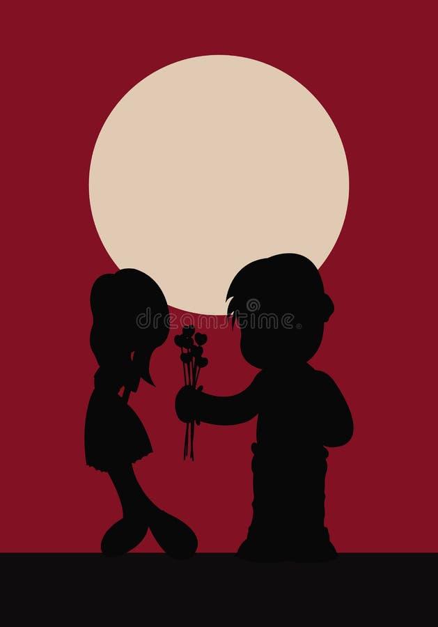 oskyldiga ungar älskar att dela två royaltyfri illustrationer
