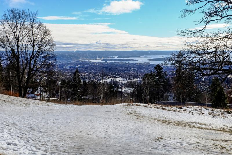 Oslo bay aerial view. From the hill in winter afternoon day stock photography