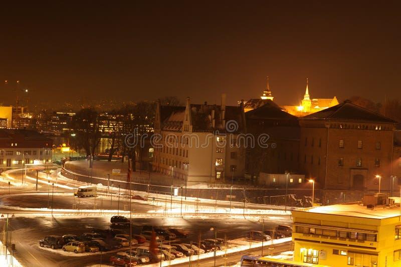 Oslo bis zum Night lizenzfreies stockbild