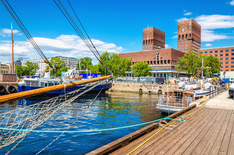 Oslo City Hall from Harbour, Norway. Amazing Oslo City Hall seen from Oslo Harbour, Oslo Fjord, Norway stock image