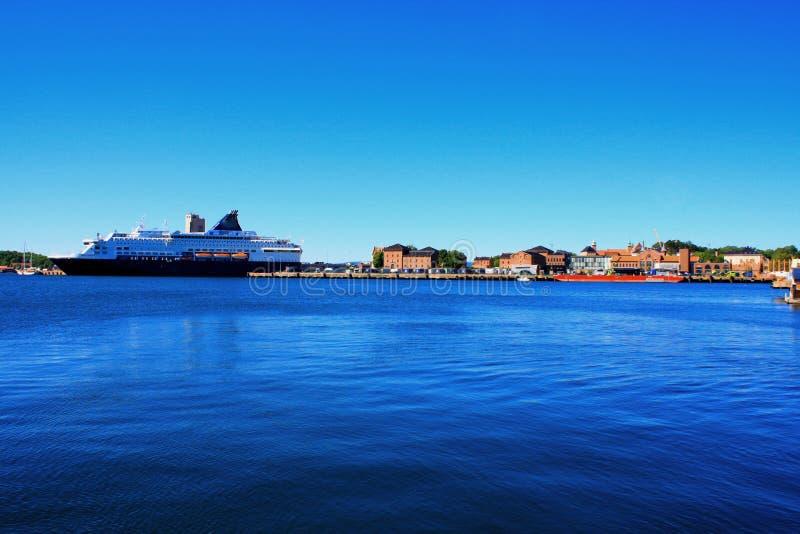 Oslo in de haven van Noorwegen is één van de grote aantrekkelijkheden van Oslo ` s in s stock fotografie