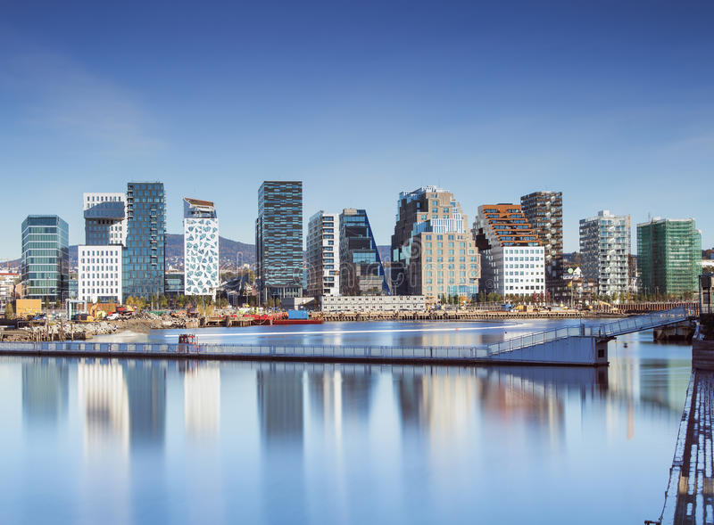 Oslo downtown - Norway. Bjørvika is a neighborhood in the Sentrum borough of Oslo, Norway. The area is an inlet in the inner Oslofjord, situated between royalty free stock image