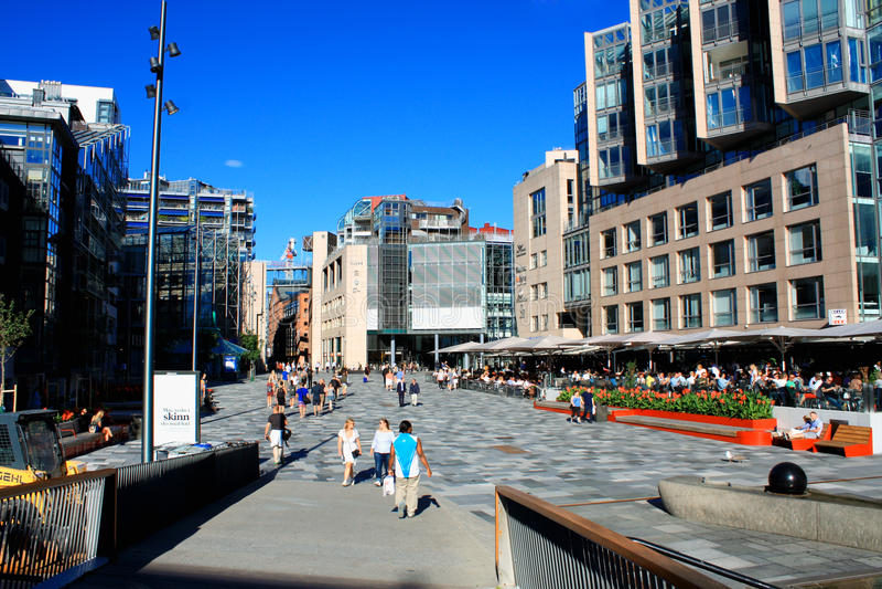 Oslo en Norvège Le port est l'une attractions du ` s d'Oslo de grandes Situa photo stock