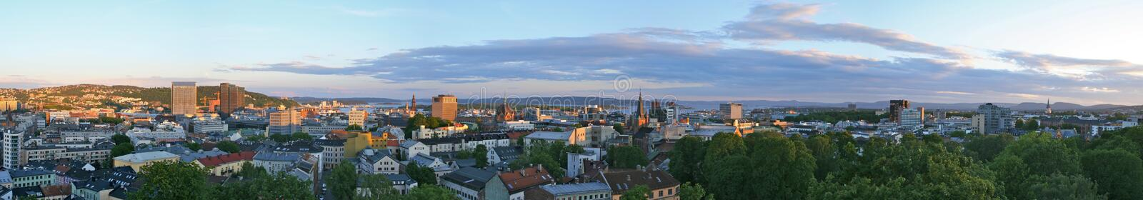 Oslo evening panorama stock photography