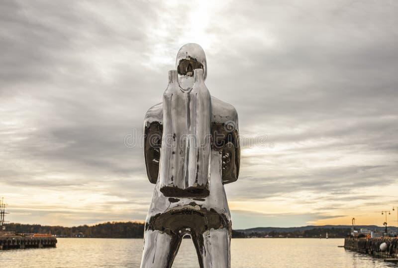 Oslo-fiordo al tramonto, un operatore subacqueo fotografia stock libera da diritti