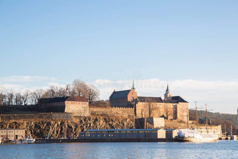 Oslo Fjord schronienie i Akershus forteca zdjęcia stock