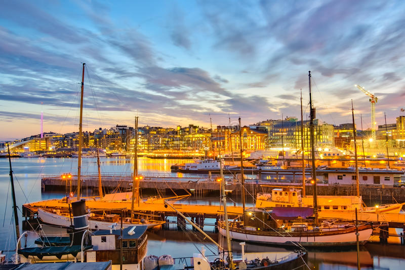 Oslo harbor at night in Oslo city, Norway stock image