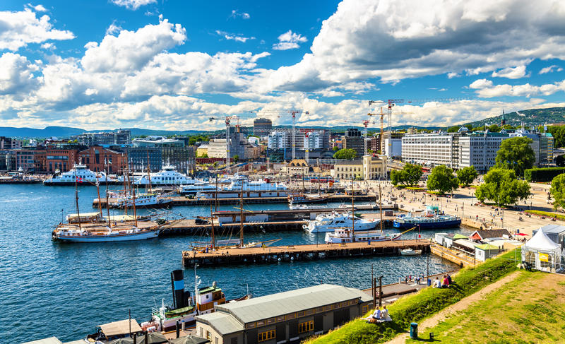 Oslo harbour with boats and yachts near the City Hall Square. Norway stock image