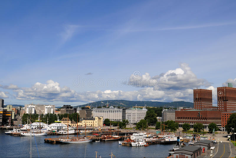 Oslo Harbour and Cityhall. The city hall of Oslo and the Harbour royalty free stock images