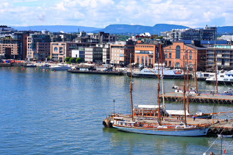 Oslo Harbour - Norway. View of Oslo harbour with boats and ships stock photos