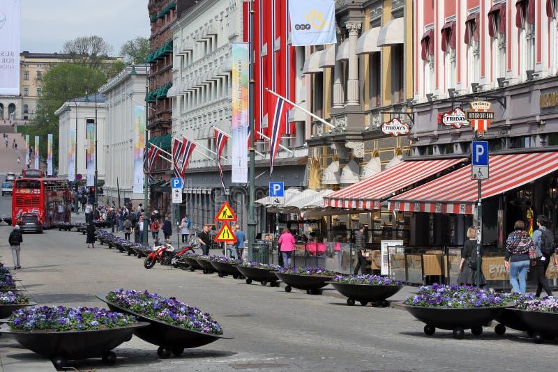 Oslo, Noorwegen - beroemd Karl Johan Gate stock fotografie
