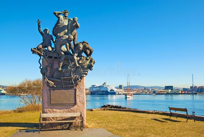 Oslo noorwegen Monument aan de zeelieden royalty-vrije stock foto's