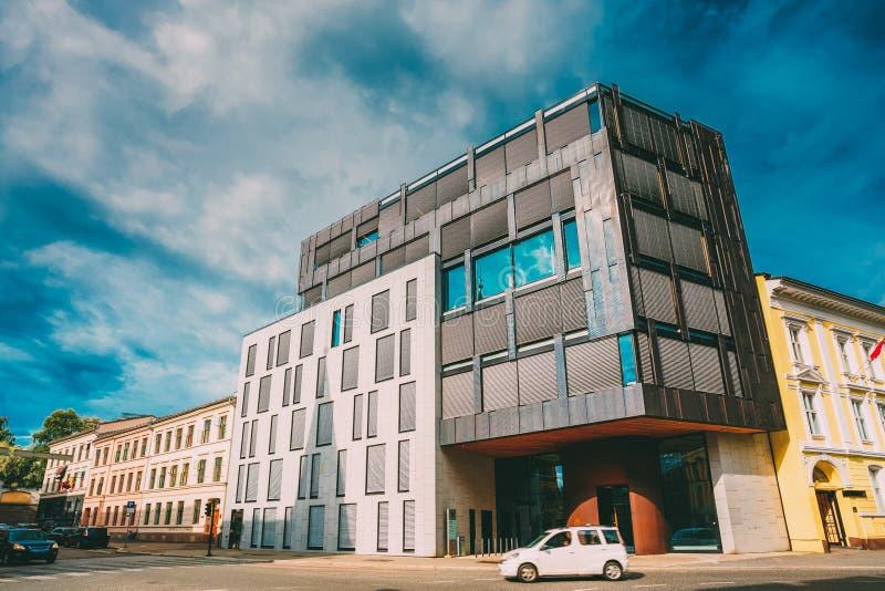 Oslo, Noorwegen Voorbeeld van Skandinavische Architectuur, de Buitenbureaubouw stock foto's