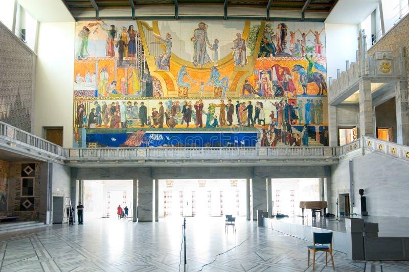 Oslo noruega El interior de ayuntamiento imágenes de archivo libres de regalías