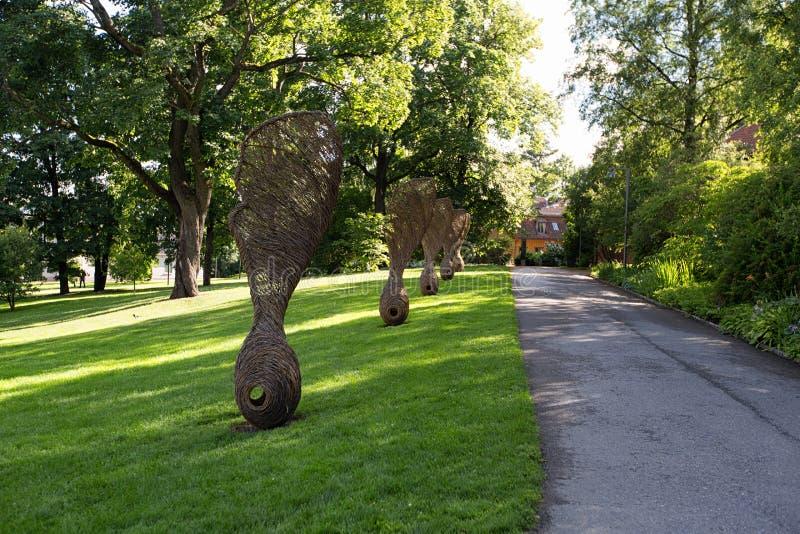 Oslo, Noruega Esculturas gigantes do fruto do bordo imagem de stock royalty free