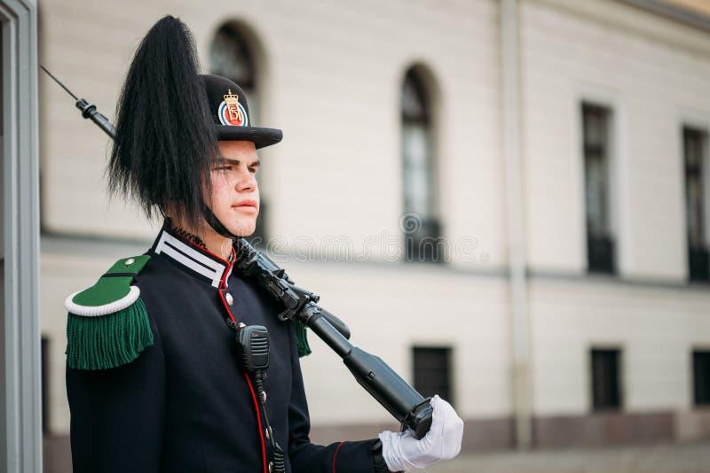 Oslo Noruega Hombre joven en uniforme del guardia real Standing In Sen fotos de archivo