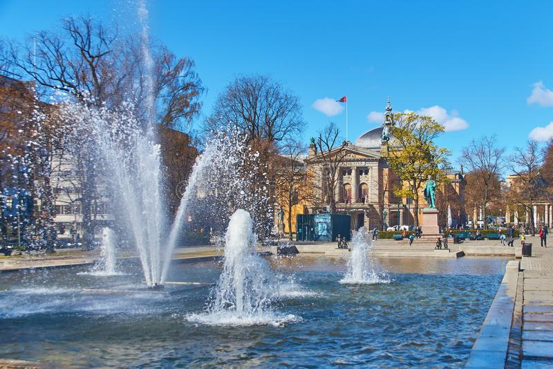 View of the monument to Henrik Wergeland on Eidsvolls plass Spikersuppa near the National Theater in Oslo, Norway stock photography