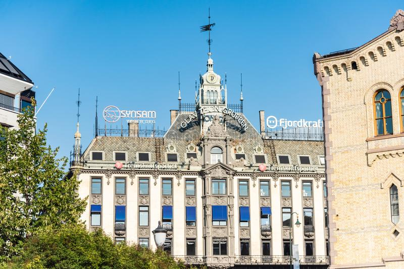 OSLO, NORWAY - Aug 27, 2019: Grand Hotel is a hotel in Oslo, Norway. Grand Hotel in Oslo Norway royalty free stock image