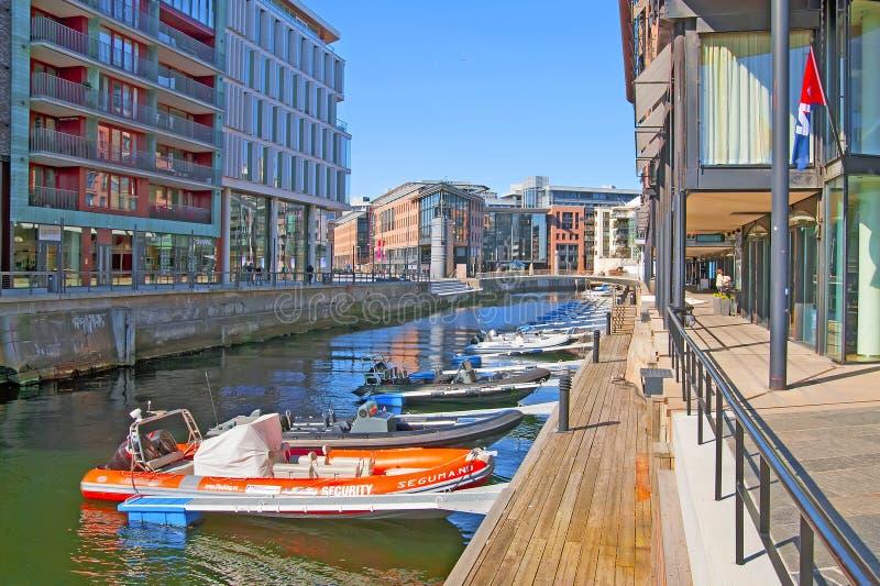 Oslo norway Barche private in Aker Brygge fotografia stock