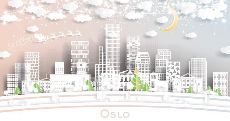 Oslo Norway City Skyline i pappersformat med snöflingor, månon och Neon Garland royaltyfri illustrationer