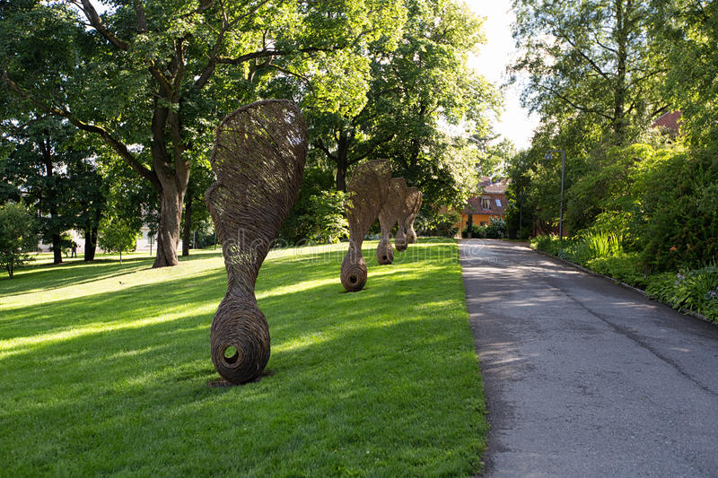 Oslo, Norway. A giant sculptures of maple fruit. royalty free stock image