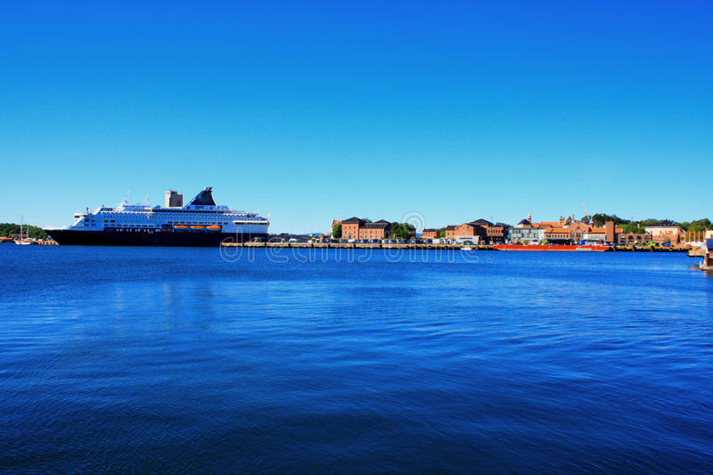 Oslo in Norway- harbor is one of Oslo`s great attractions in a s. Ummer day stock photography