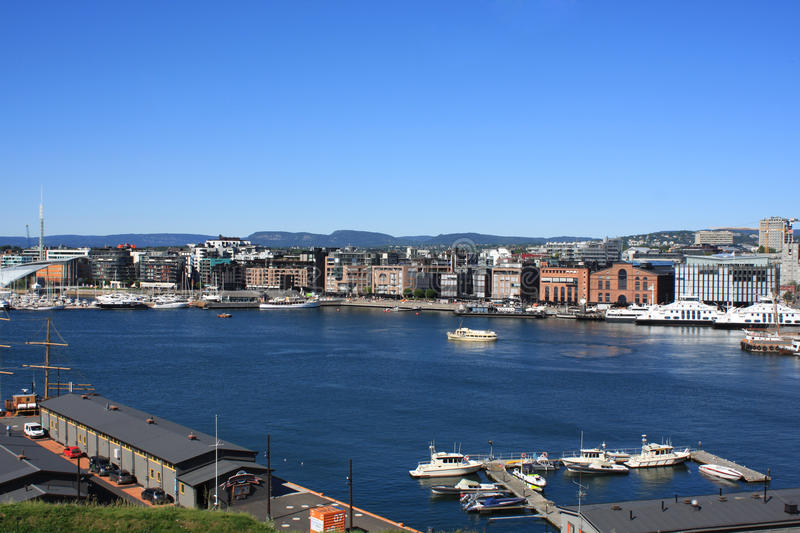 The Oslo Norway Harbor is one of Oslo`s great attractions. Situa. Ted on the Oslo Fjord in Oslo, Norway royalty free stock photography