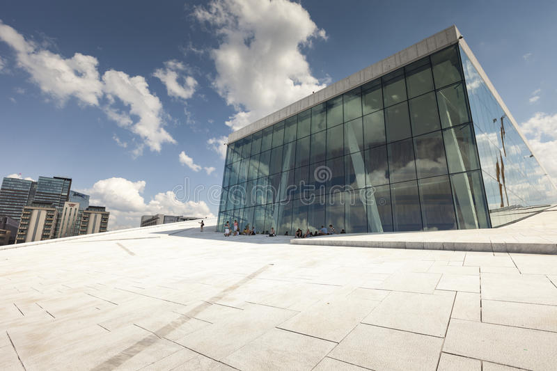 OSLO, NORWAY - JULY 09: View on a side of the National Oslo Opera House royalty free stock photography