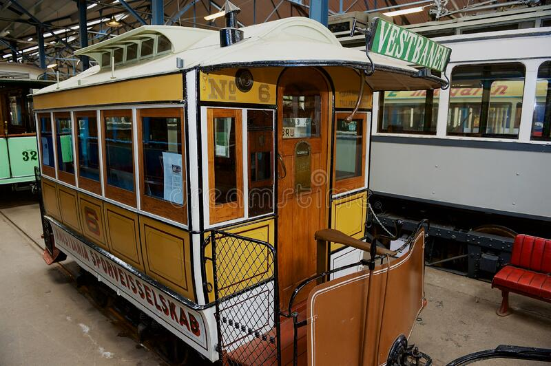 Exposition of Sporveismuseet - Tramway Transport museum in Oslo, Norway. Oslo, Norway - June 03, 2012: Exposition of Sporveismuseet - Tramway Transport museum royalty free stock photo