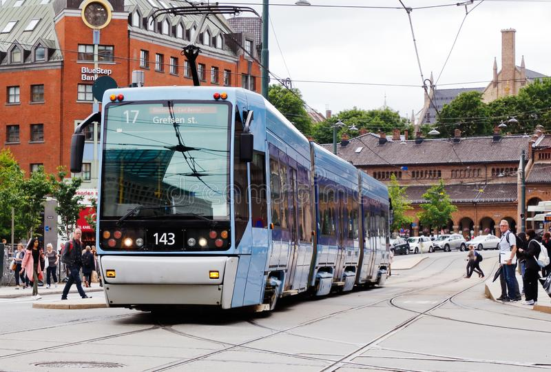 Low-floor articulated tram stock photo