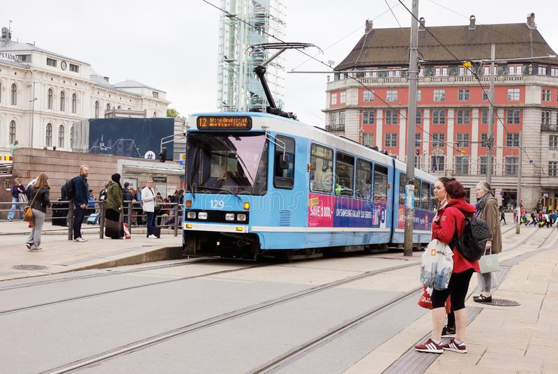 Oslo tram at stop royalty free stock photo
