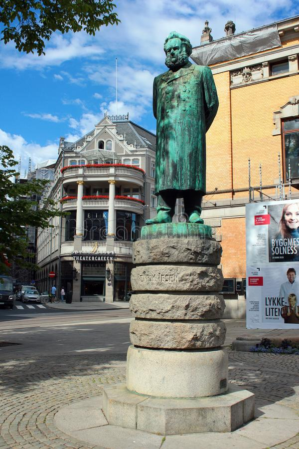 Statue of Henrik Ibsen in Oslo, Norway. Oslo, Norway - June 26, 2018: Statue of Henrik Ibsen in front of the Oslo`s National Theater. Norway`s main arena for stock images