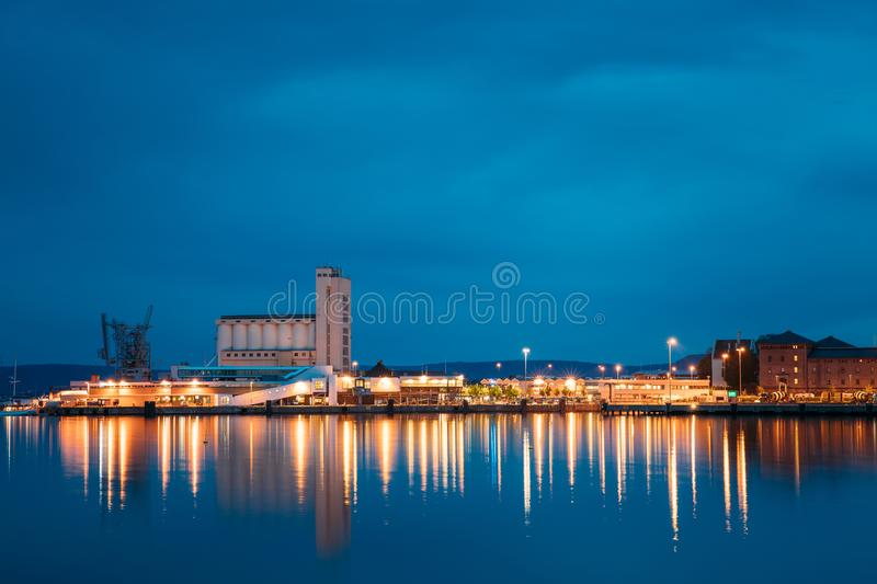 Oslo, Norway. Night View Embankment And Sea Port Terminal In City Center In Oslo, Norway. Summer Evening. Lights stock photos