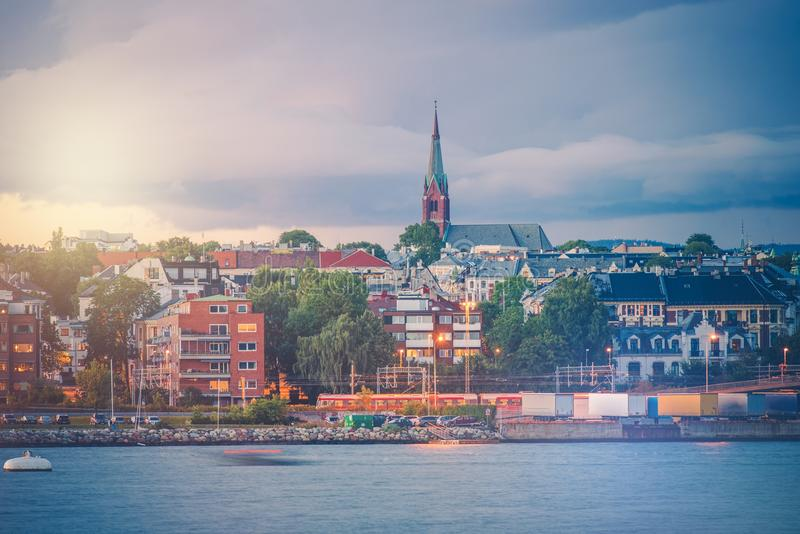 Oslo Norway Oceanfront. Part of City of Oslo. Norwegian Architecture royalty free stock photo