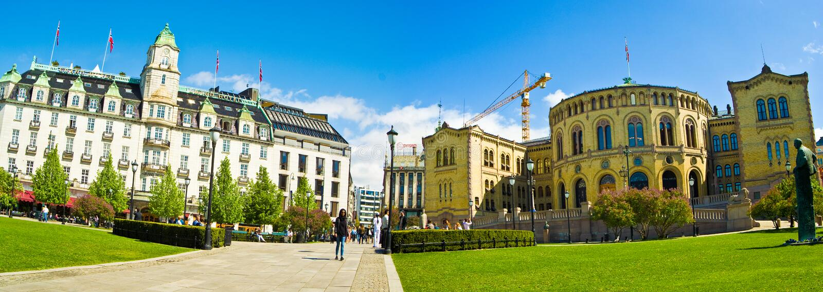 Oslo, Norway. Parliament and Grand Hotel in Oslo, Norway stock photos